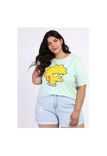 Blusa Feminina Plus Size Lisa Os Simpsons Manga Curta Verde Claro