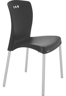 Cadeira Mona- Preta & Prateada- 86X58X50Cm- Tramtramontina