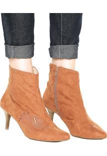 Bota Dafiti Shoes Bordado Caramelo