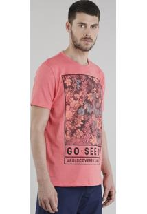 """Camiseta """"Go See Do Undiscovered"""" Coral"""