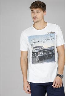 "Camiseta Masculina Opala ""Summer Vacation"" Manga Curta Gola Careca Cinza Mescla Claro"