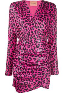 Andamane Leopard Print Mini Dress - Rosa
