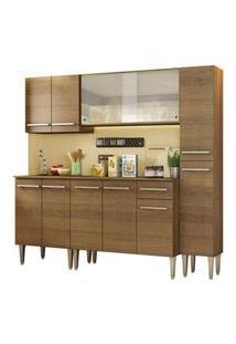 Cozinha Completa Madesa Emilly Fast Com Balcão, Armário Vidro Miniboreal E Paneleiro Rustic