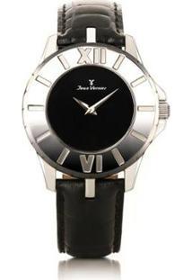 Relógio Jean Vernier Pulseira Couro Vidro Cristal Feminino - Feminino-Preto