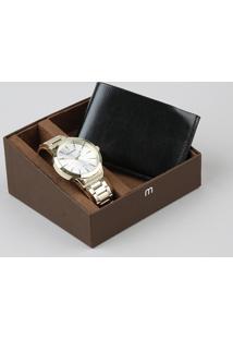 Kit De Relógio Analógico Mondaine Masculino + Carteira - 99135Gpmvde2K Dourado - Único