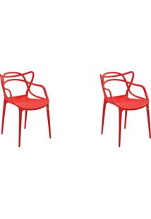 Kit 02 Cadeiras Allegra Vermelha Rivatti