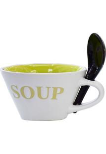 Bowl Soup Com Colher Tigela Verde Kasa Ideia