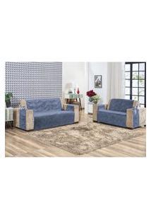 Protetor De Sofá Em Suede Liso Com Alta Qualidade 02 Peças Azul