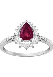 Anel Em Ouro Branco 18K Com Diamante, Rubi - Aria 15