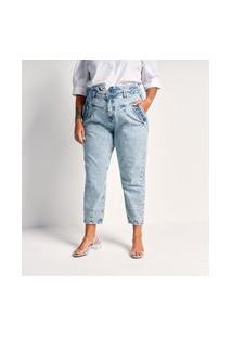 Calça Jeans Liso Clochard Com Lapela Nos Bolsos Curve E Plus Size Azul