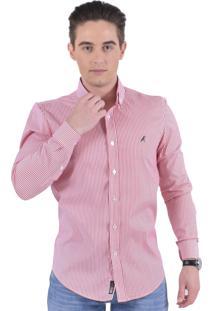Camisa Social Listrada Horus Slim 100214 Vermelha