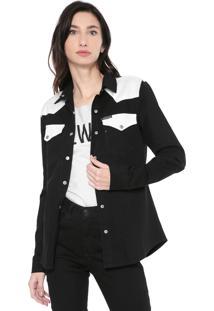 Camisa Sarja Calvin Klein Jeans Bolsos Preta/Branca