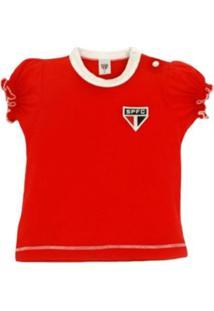 Baby Look Reve D'Or Sport Cores Clube São Paulo Vermelha E Branca - Kanui