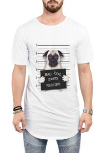 Camiseta Criativa Urbana Long Line Oversized Engraçadas Bad Dog Pug Preso - Masculino-Branco