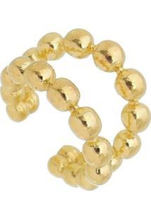 Brinco Piercing Dupla Bolinhas Douradas Banhado A Ouro 18K - Kanui
