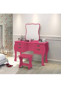 Penteadeira Divans Com Espelho E Banqueta Pink - Urbe Móveis