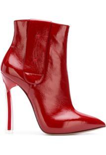Casadei Ankle Boot De Couro E Camurça - Vermelho
