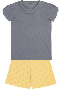 Pijama Feminino Em Malha Flamê De Algodão Com Detalhe Nas Mangas