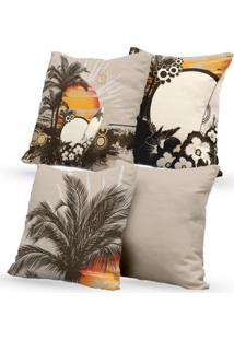 Kit 4 Capas De Almofadas Decorativas Own Verão Tropical 45X45 - Somente Capa
