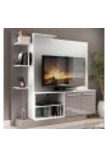 """Estante Com Painel Tv 55"""" E 2 Portas Denver Multimóveis Branco/ Lacca Fumê"""
