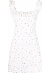 12 Storeez Vestido Com Babados E Estampa Floral - Branco