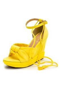 Sandália Anabela Salto Médio Em Camurça Amarelo