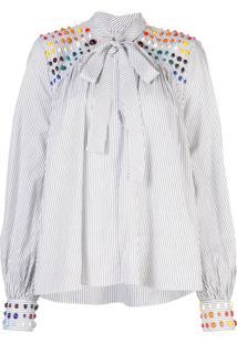 Rosie Assoulin Blusa Risca De Giz - Branco