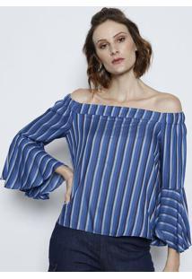 Blusa Ciganinha Listrada Com Elástico- Azul Marinho & Aztvz