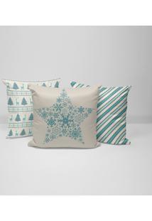Kit 3 Capas Para Almofadas Decorativas Natal Clássico