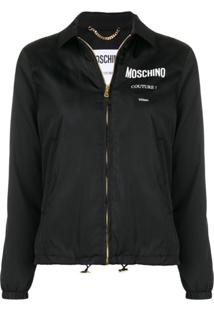 Moschino Logo Print Zipped Jacket - Preto