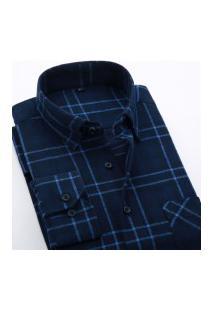 Camisa Xadrez Masculina Slim Fit Alabama - Azul Escuro