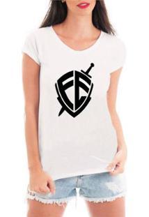 Camiseta Criativa Urbana Escudo Fé Religiosa Feminina - Feminino-Branco