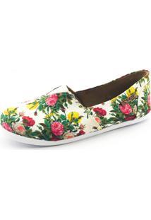 Alpargata Quality Shoes 001 Floral 209 Branca - Kanui