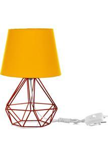 Abajur Diamante Dome Amarelo Com Aramado Cobre - Amarelo - Dafiti