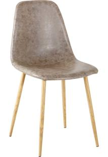 Cadeira Tania Pu Cinza Vintage Base Clara Rivatti - Bege - Dafiti