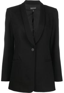 Emporio Armani Single Breasted Tuxedo Jacket - Preto