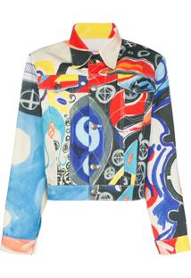 Charles Jeffrey Loverboy Jaqueta Jeans Com Respingos De Tintas - Estampado