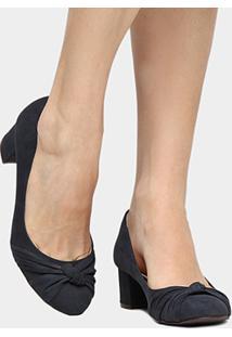Scarpin Couro Shoestock Salto Baixo Grosso Nó - Feminino-Marinho
