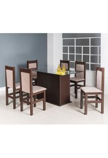 Conjunto De Mesa Com 6 Cadeiras Lourdes Suede Tabaco