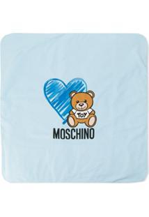 Moschino Kids Cobertor Com Estampa De Logo - Azul