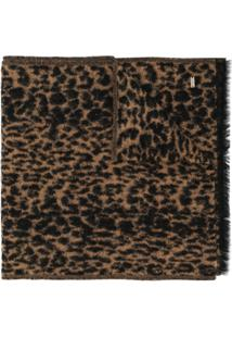 Saint Laurent Echarpe Animal Print Com Franjas - Neutro