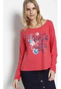 Blusa Floral Com Inscriã§Ã£O - Coral & Azul Marinho - Enfim