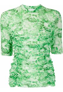 Ganni Blusa Franzida Com Estampa Floral - Verde