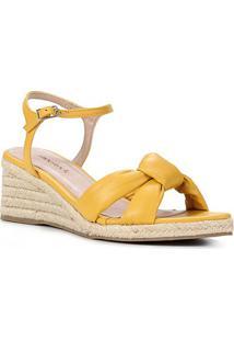 Sandália Anabela Shoestock Couro Corda Feminina - Feminino-Amarelo