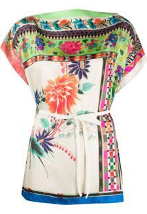Etro Blusa De Seda Com Estampa Floral E Amarração Na Cintura - Neutro
