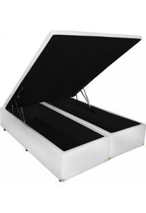 Cama Box Baú Bipartido Casal Premium 138 X 188 Corino Branco (Tampo Inteiro)