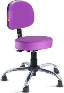 Cadeira Mocho Lilás Escuro Secretária Cromada