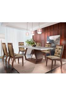 Conjunto De Mesa De Jantar Alvorada Com 6 Cadeiras Estofadas Tamara Ii Animalle Off White E Chocolate