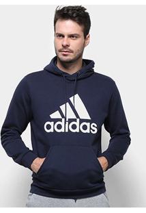 Blusa Moletom Adidas Capuz - Masculino-Marinho+Branco