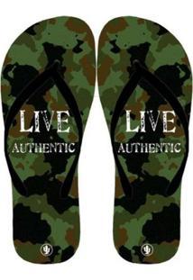 Chinelo Live Militar - Masculino-Verde Militar+Preto